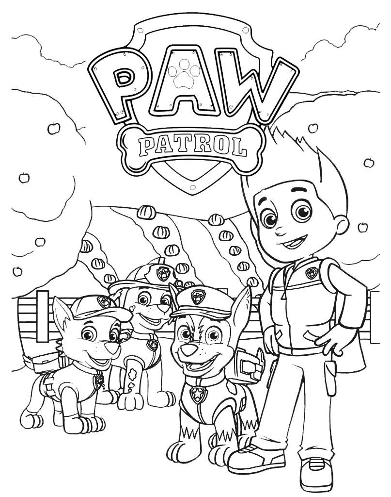 Psi Patrol kolorowanki z głównymi bohaterami bajki