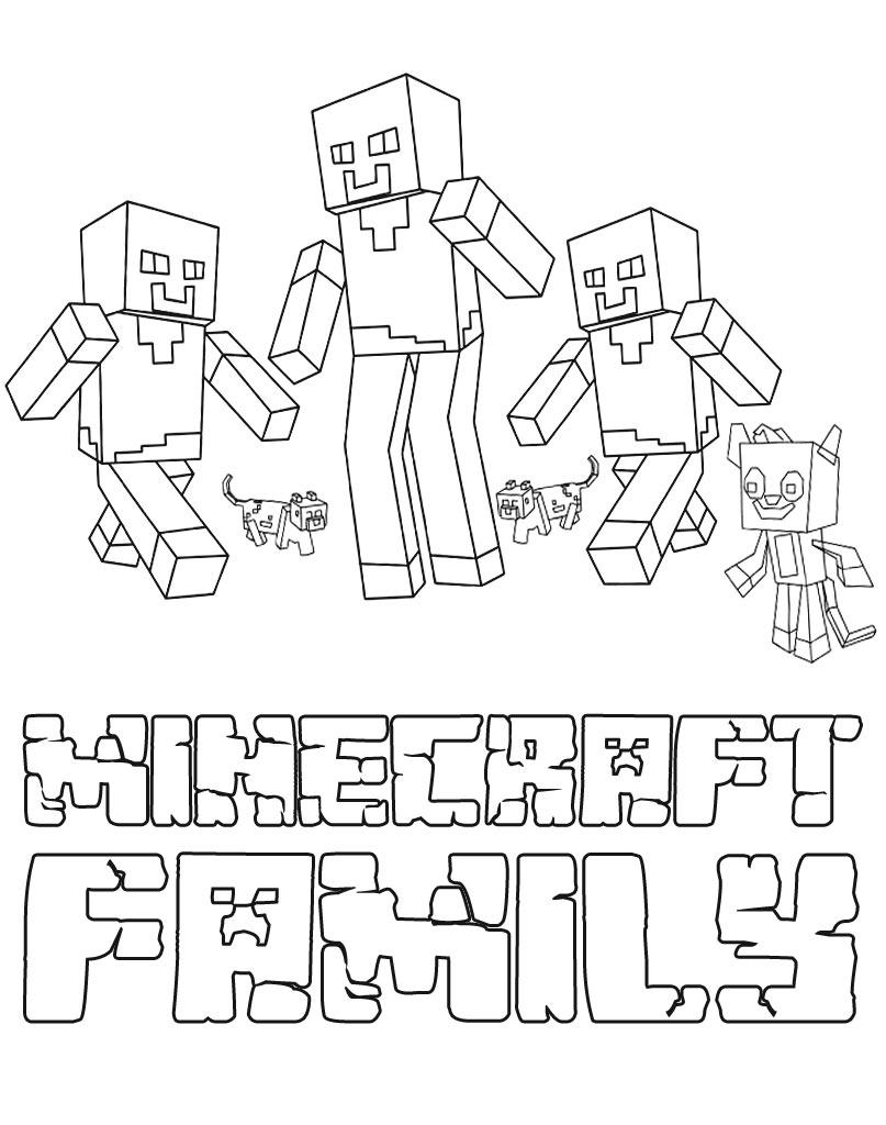 Rodzinna kolorowanka Minecraft dla dzieci