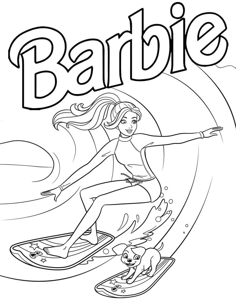 Serfująca Barbie z pieskiem w morzu
