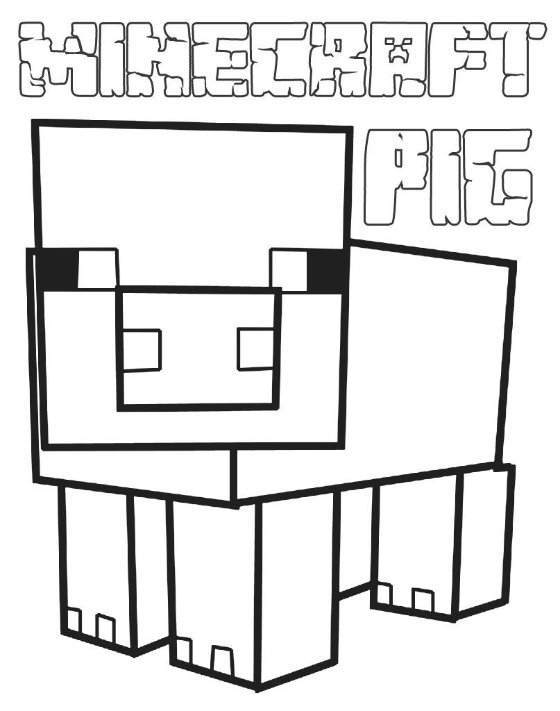 Świnka Minecraft do kolorowania