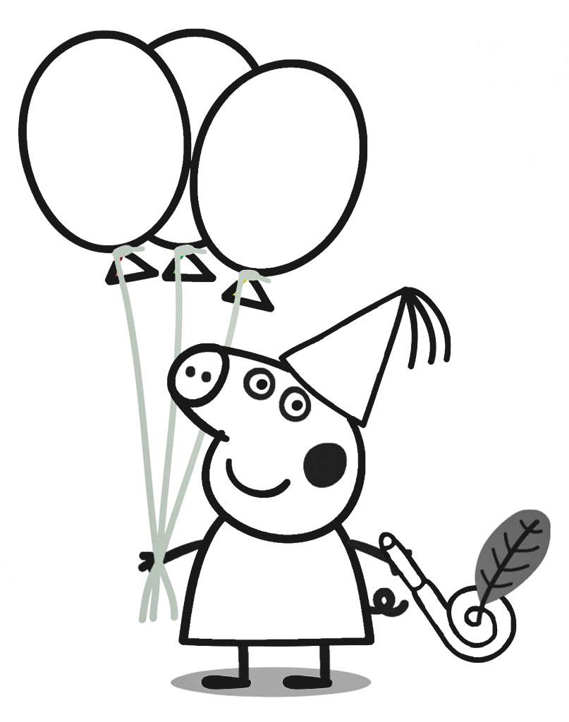 Świnka Peppa z balonikami kolorowanka online