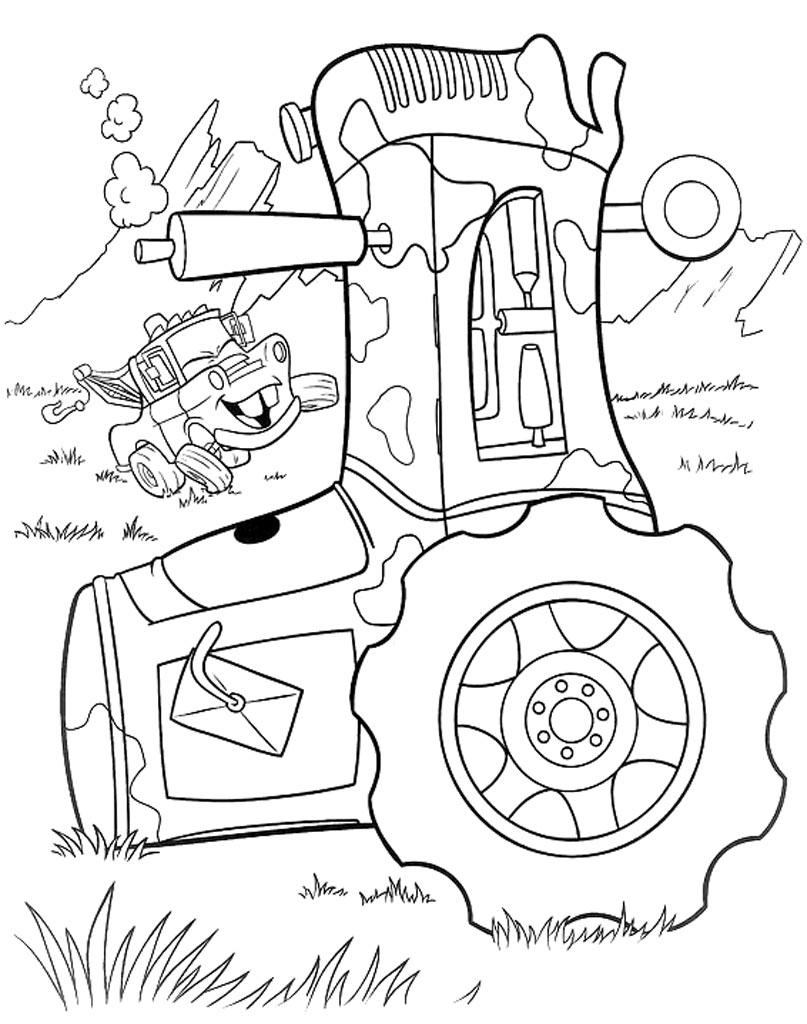 Traktor rusty kolorowanka