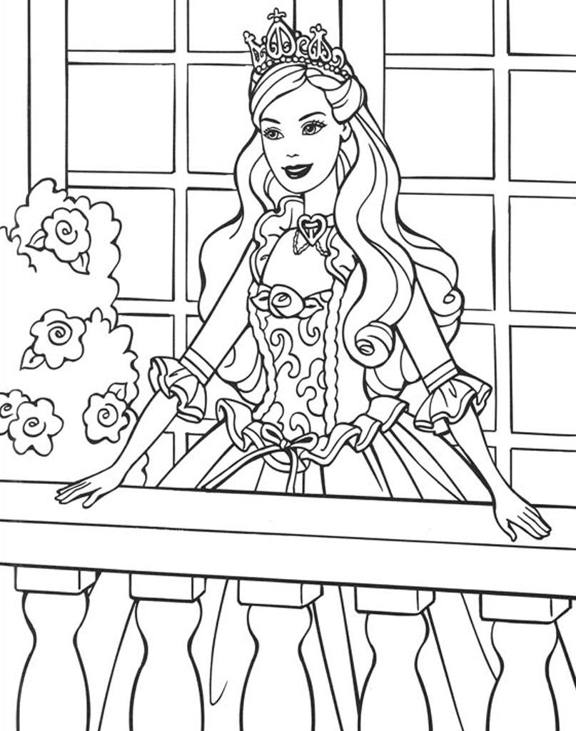 Uśmiechnięta Barbie na balkonie do druku