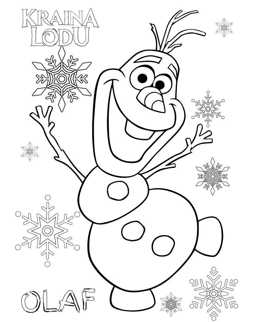Wesoły Olaf z Frozen kolorowanka dla dzieci