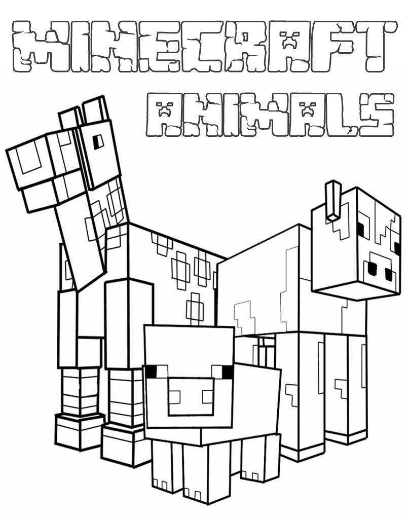 Zwierzęta Minecraft malowanka dla dzieci