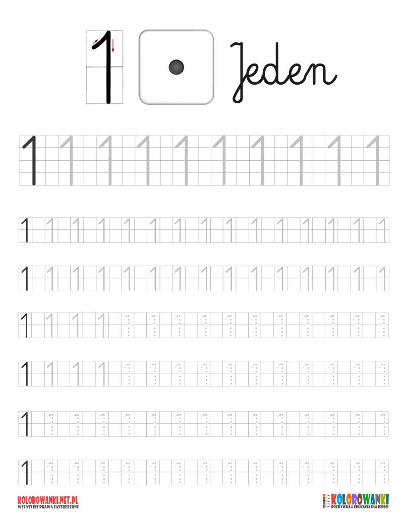 Cyferka jeden 1 do nauki pisania po śladzie