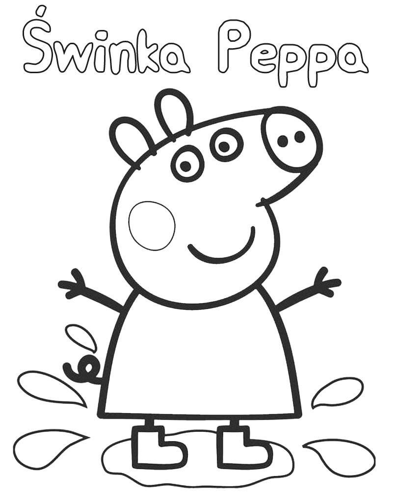 Kolorowanka Świnka Peppa w kałuży