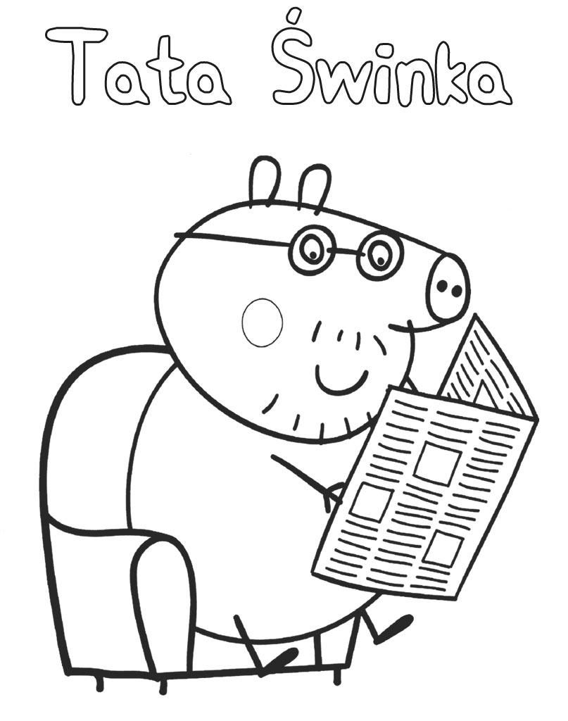 Kolorowanka do druku Tata Świnka