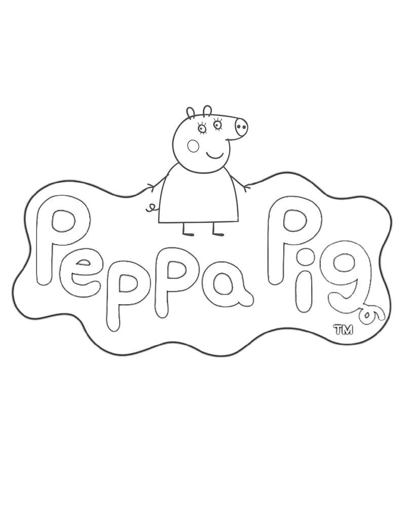 Kolorowanka logo z bajki Świnka Peppa