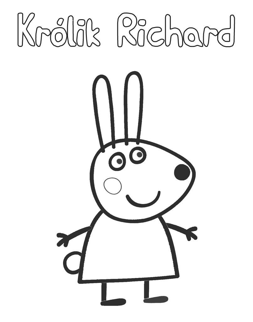 Królik Richard kolorowanka dla dzieci z bajki