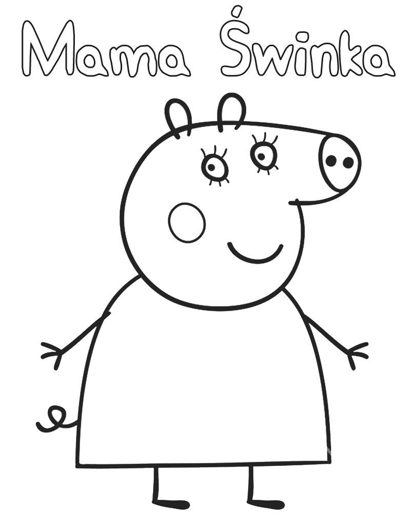 Mama Świnka kolorowanka do druku z bajki Świnka Peppa