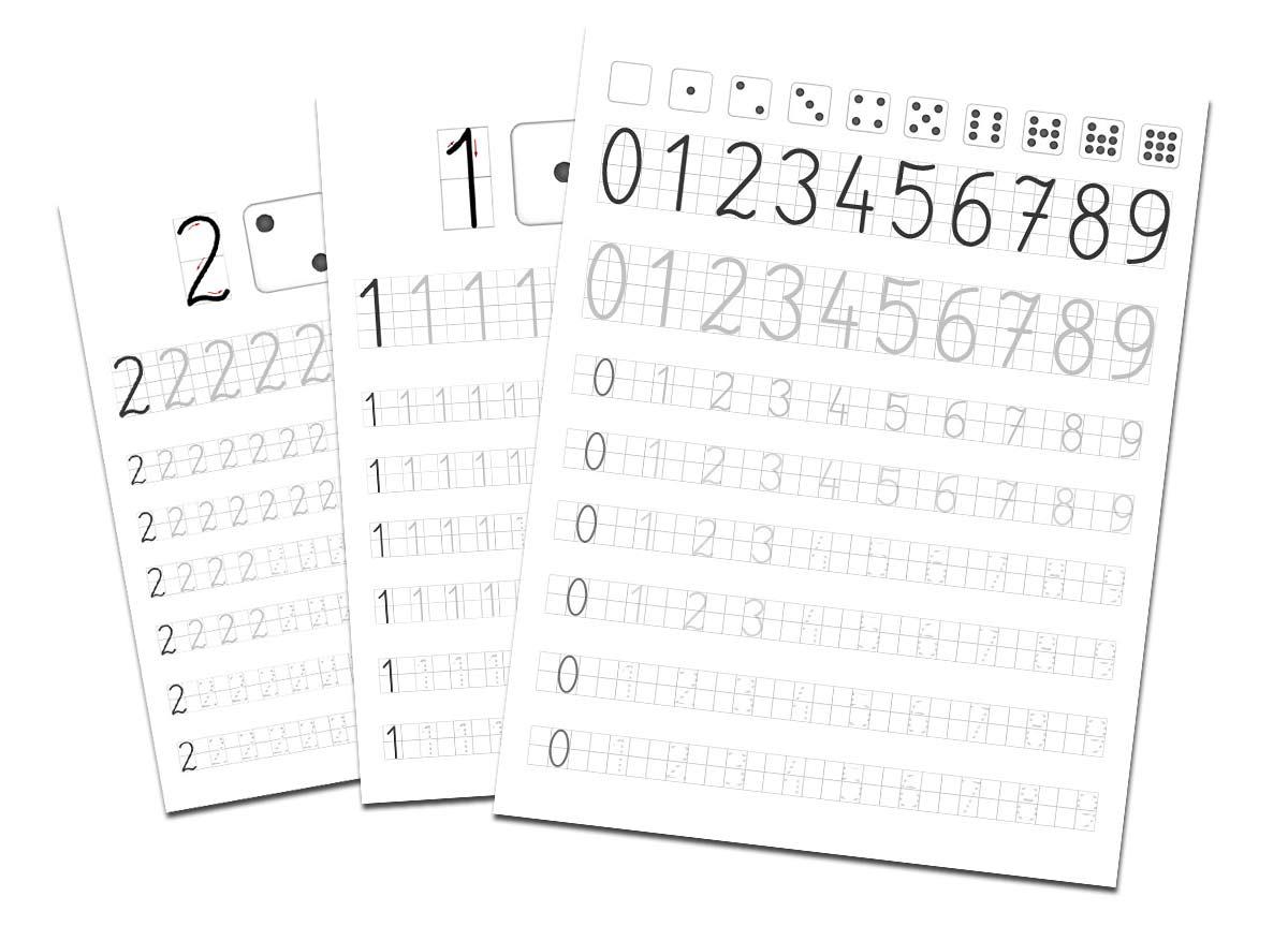 Nauka pisania cyferek po śladzie