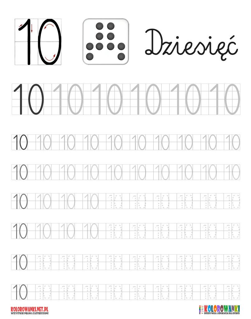 Nauka pisania cyferki dziesięć 10 do druku