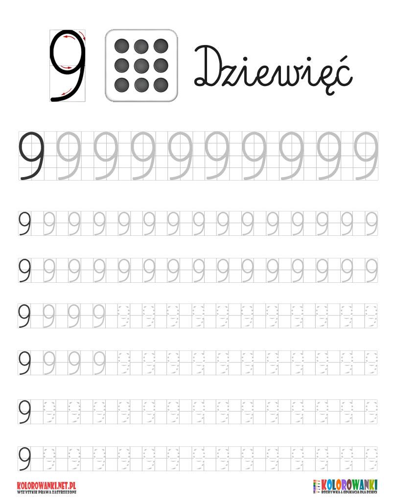 Nauka pisania cyferki dziewięć 9 do druku