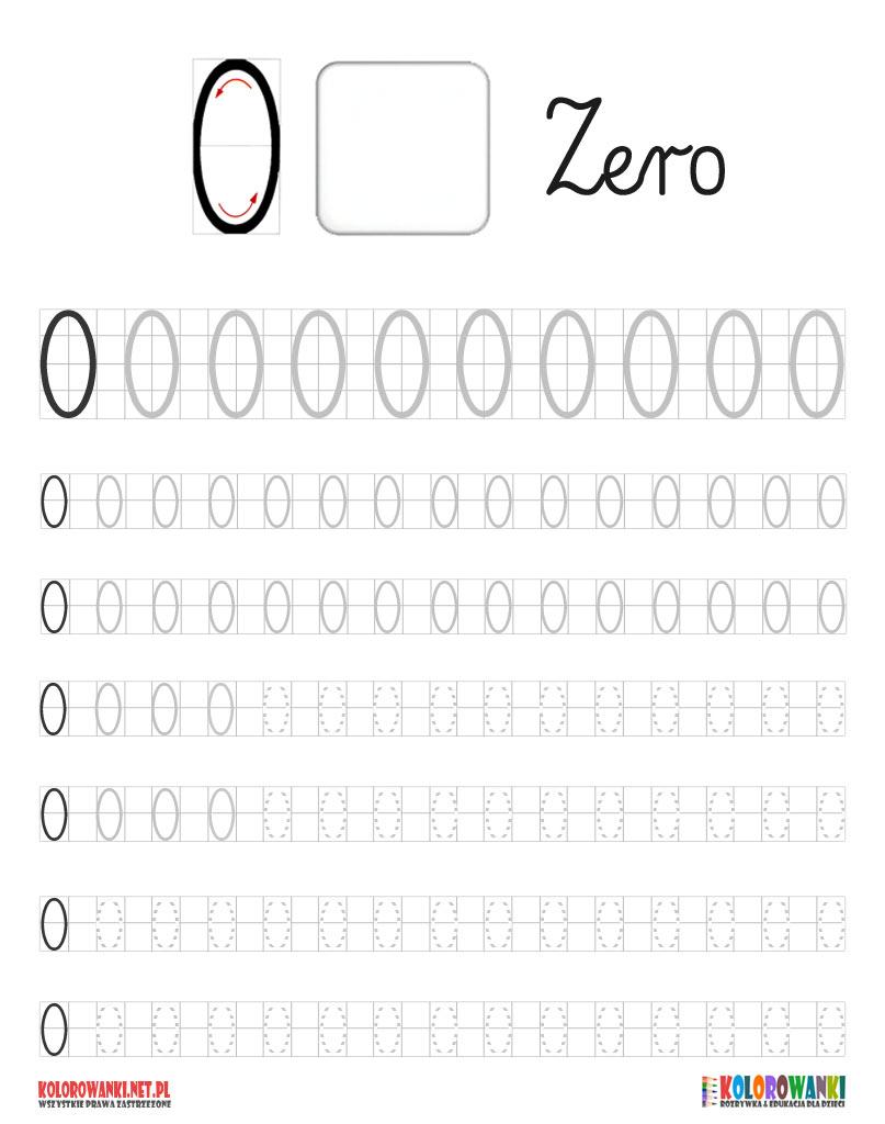 Nauka pisania cyfry zero do pobrania