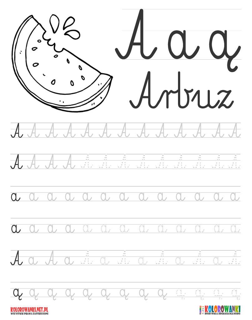 Nauka pisania literek po śladzie - litera A, a, ą