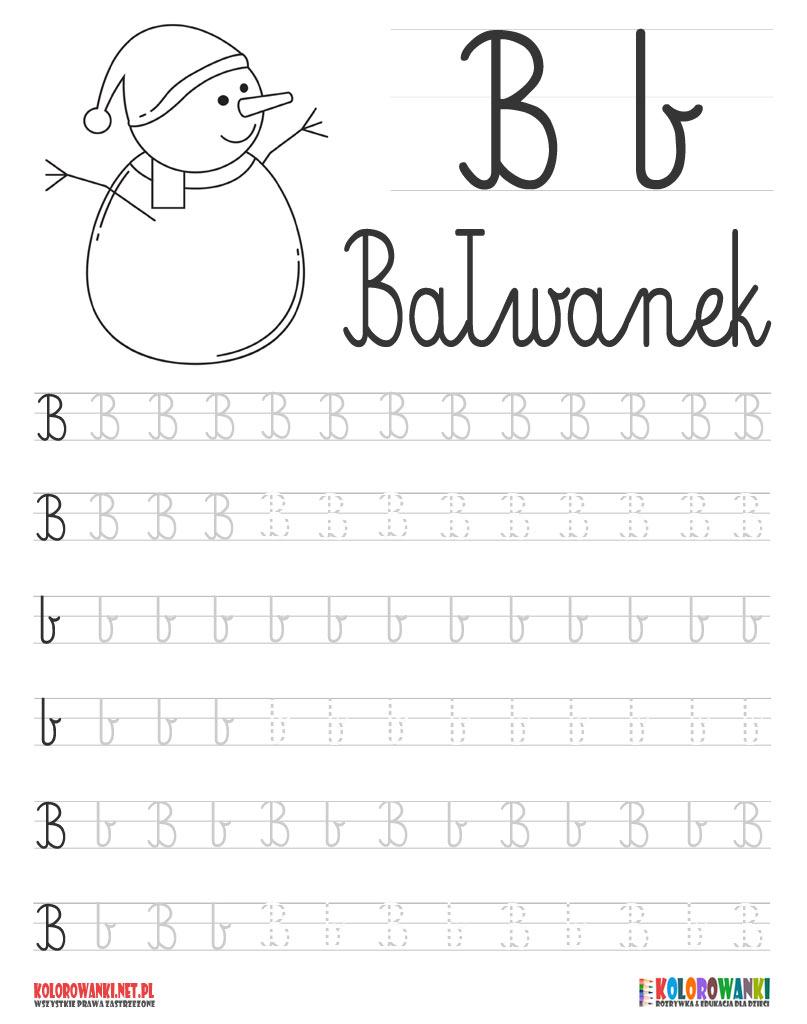 Nauka pisania liter po śladzie - litera B, b