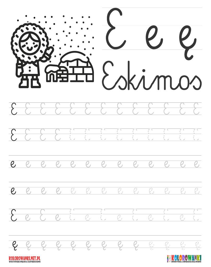 Nauka pisania liter po śladzie litera - E, e, ę