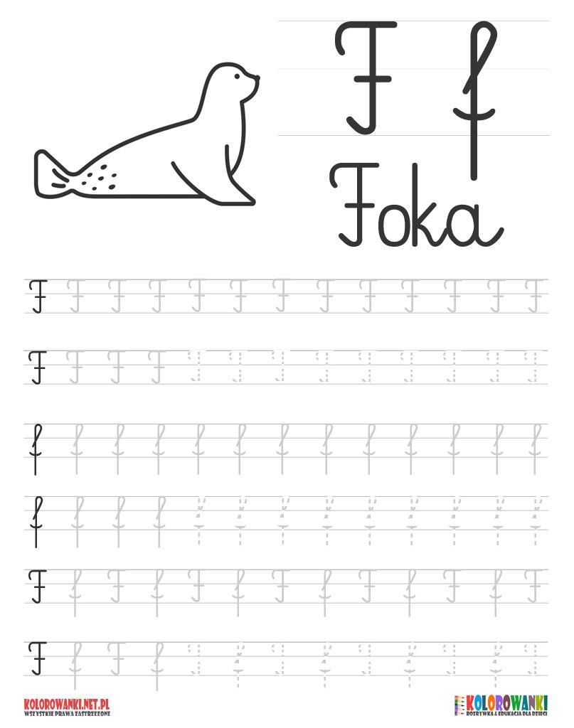 Nauka pisania liter po śladzie - litera F, f