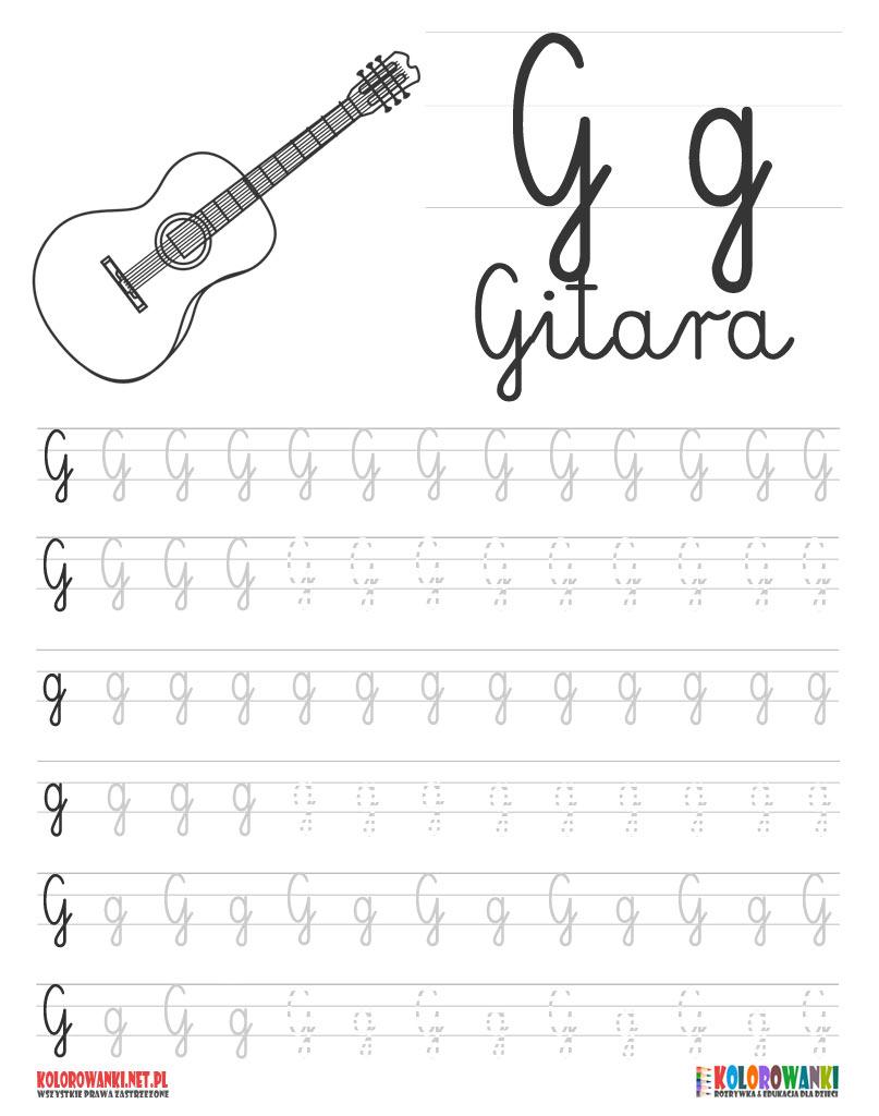 Nauka pisania literek po śladzie – litera G, g