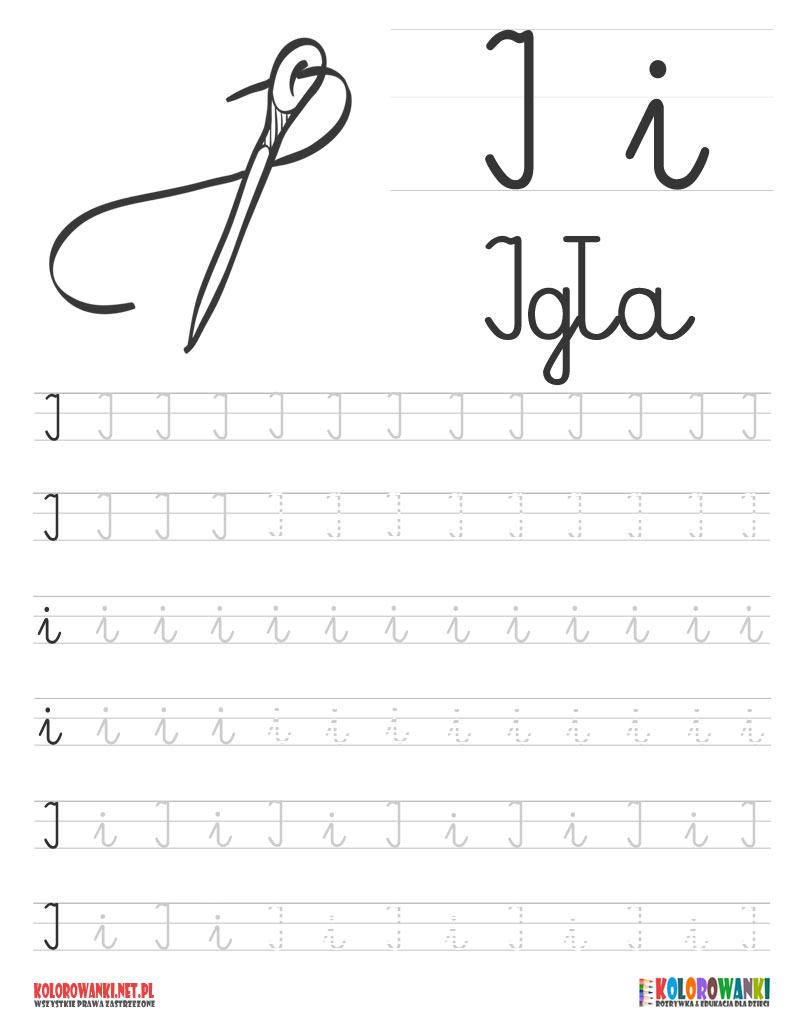 Nauka pisania liter po śladzie - litera I, i