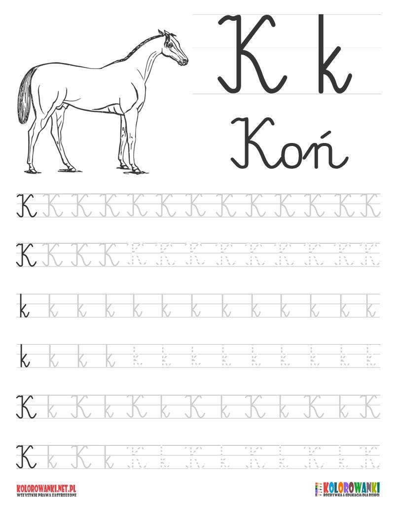 Nauka pisania liter po śladzie - litera K, k
