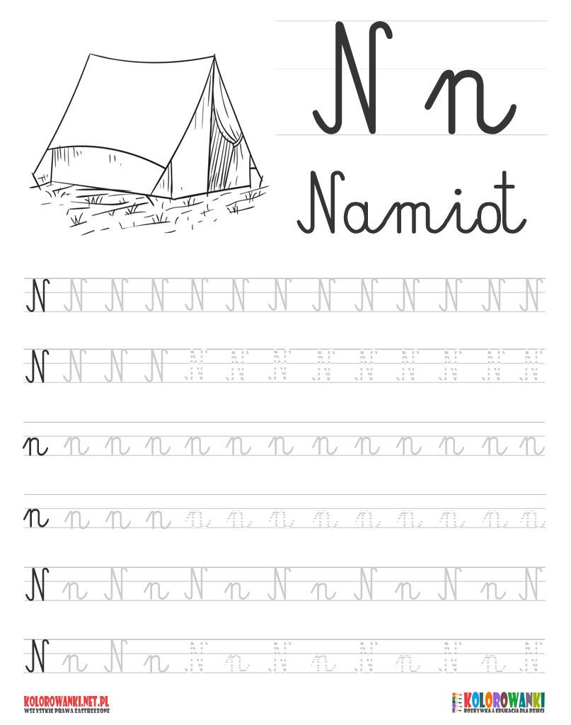 Nauka pisania liter po śladzie - litera N, n
