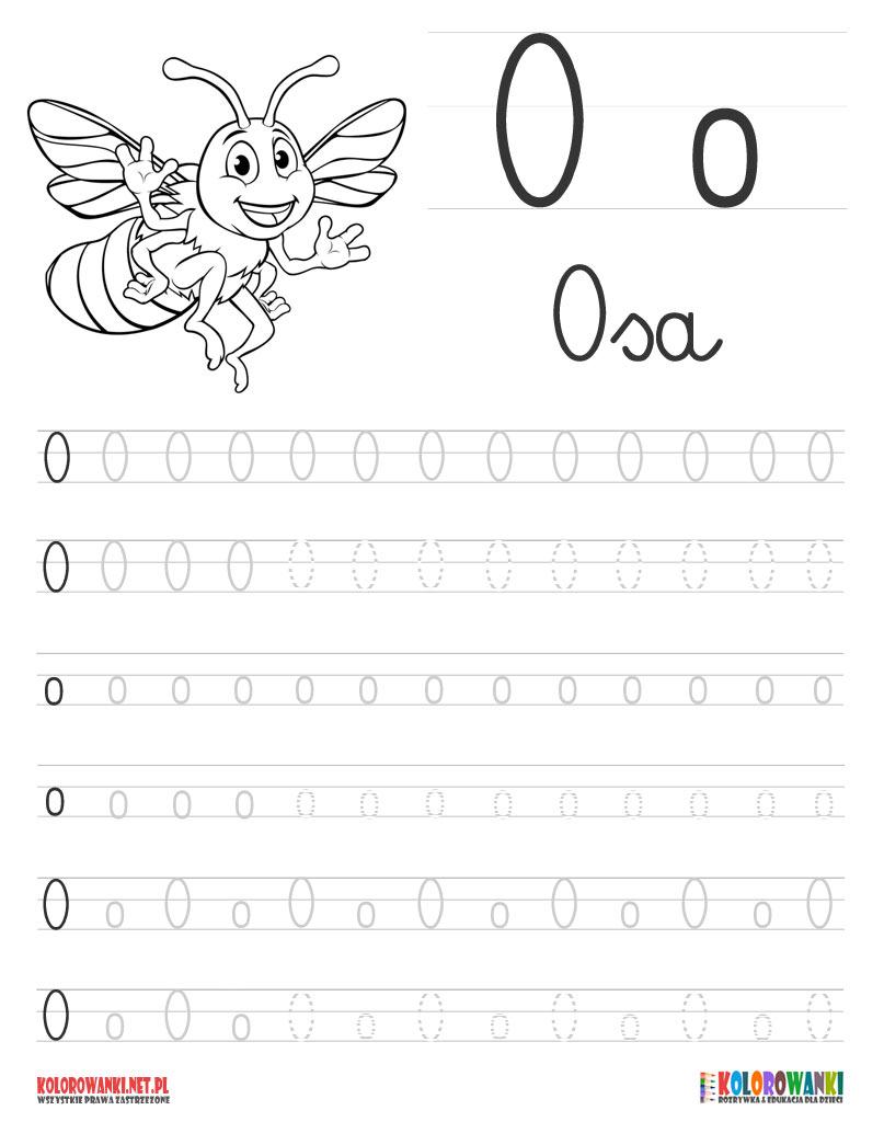 Nauka pisania liter po śladzie - litera O, o