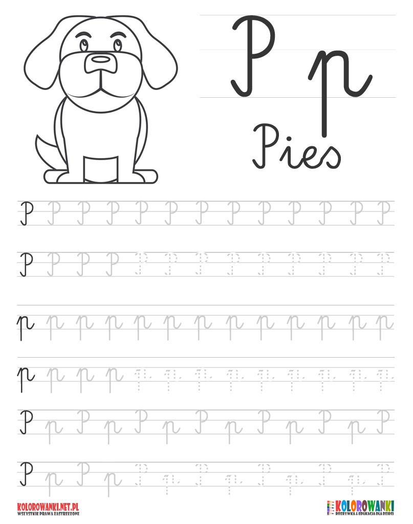 Nauka pisania liter po śladzie - litera P, p