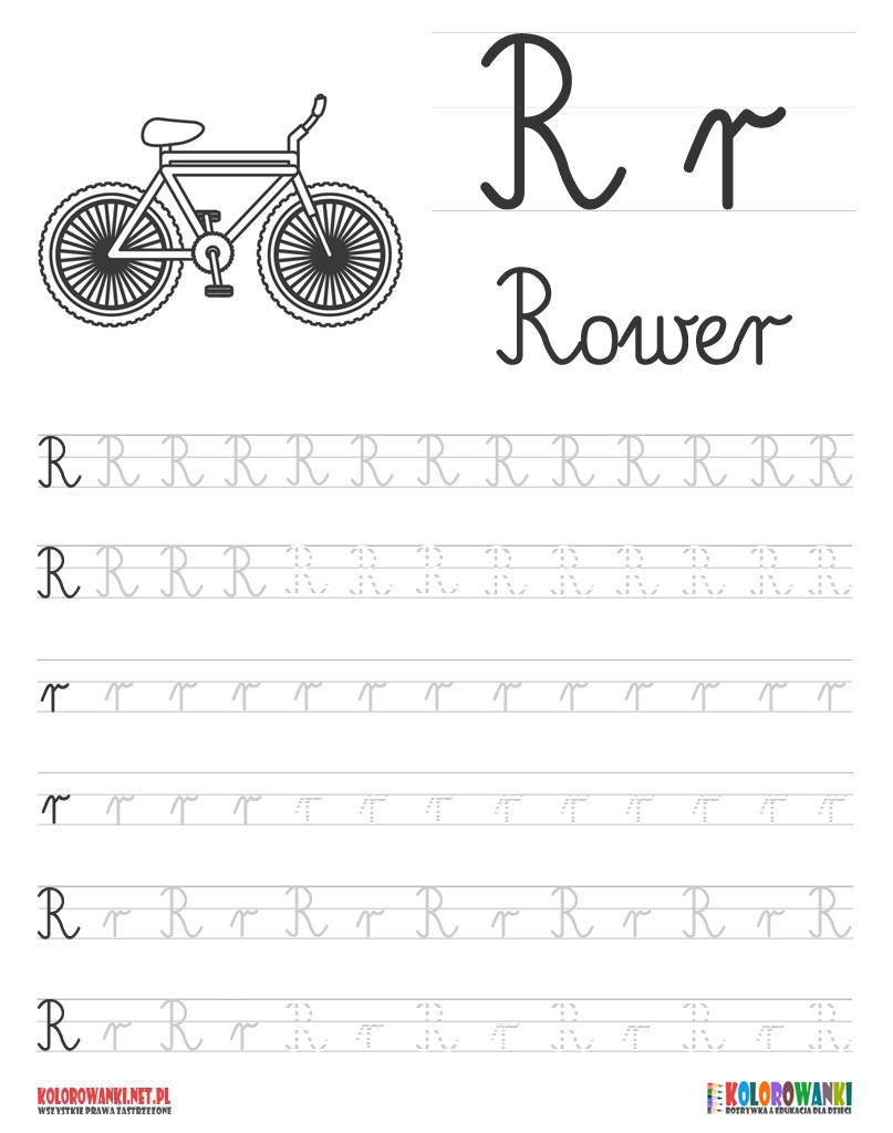 Nauka pisania liter po śladzie - litera R, r
