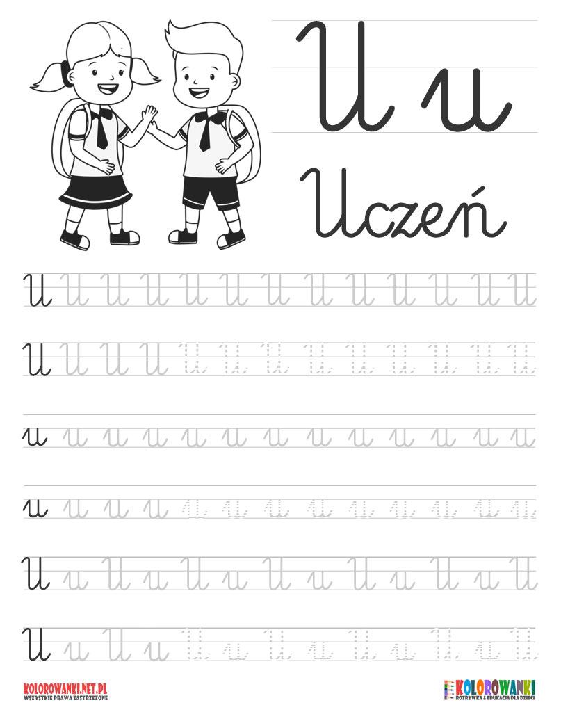 Nauka pisania liter po śladzie - litera U, u