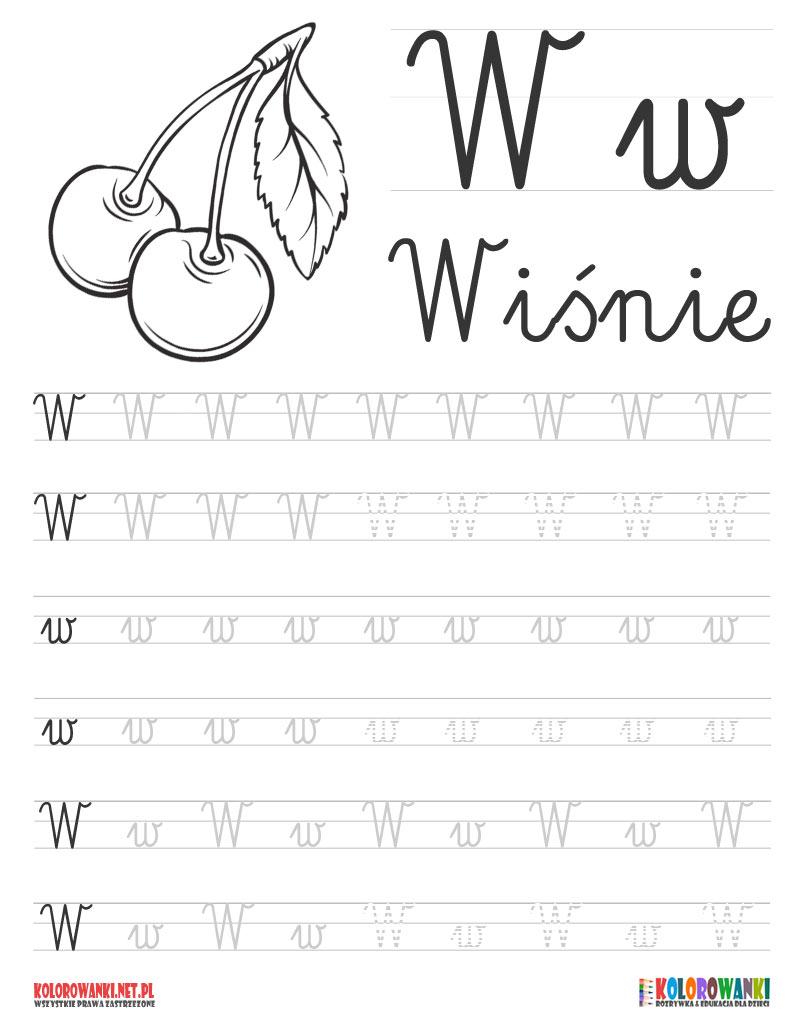 Nauka pisania literek po śladzie - litera W, w
