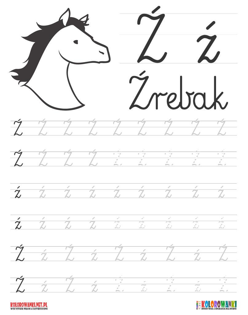 Nauka pisania liter po śladzie - litera Ź, ź