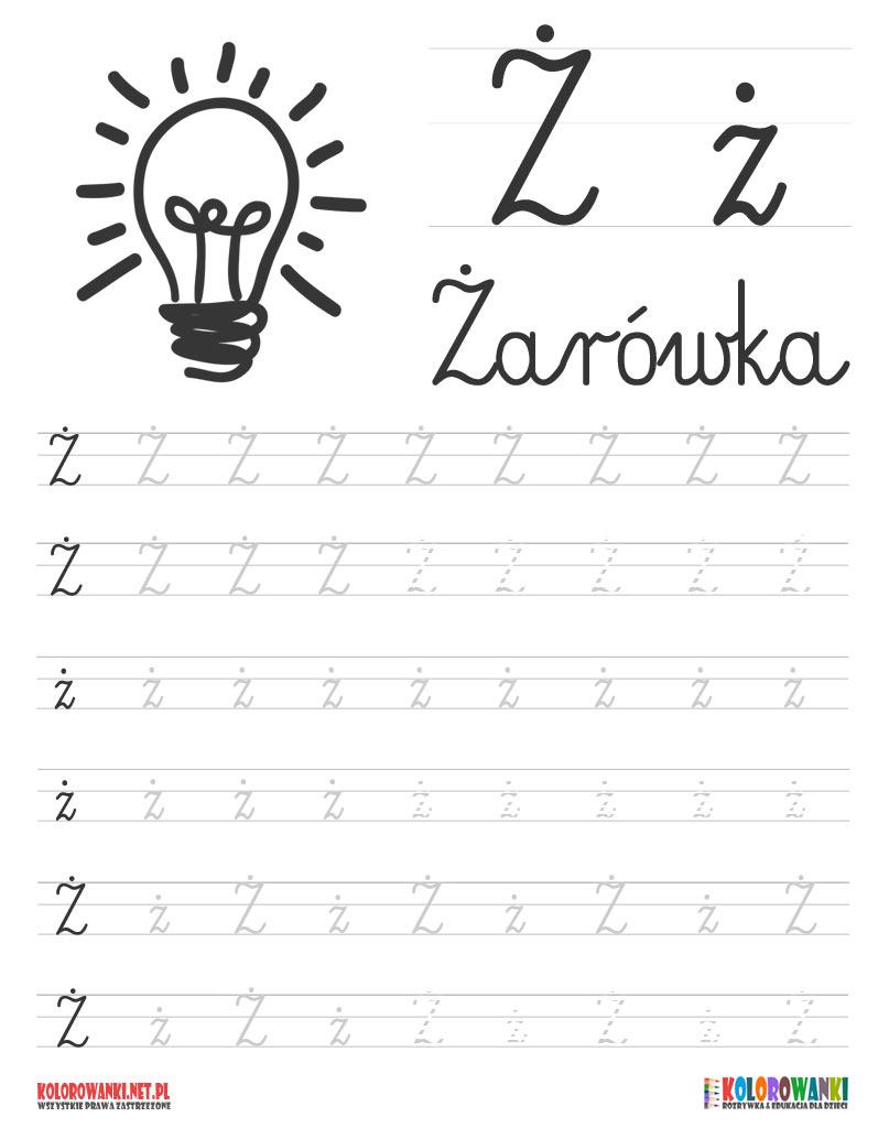 Nauka pisania liter po śladzie - litera Ż z kropką