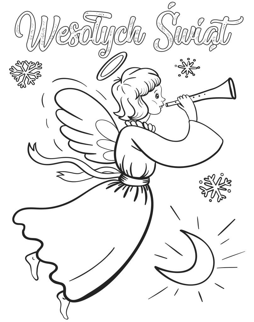 Aniołek bożonarodzeniowy kolorowanka