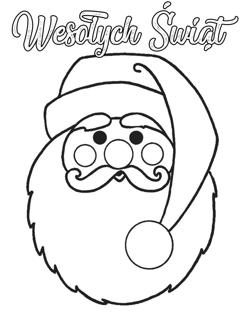 Mikołaj kolorowanka z napisem Wesołych Świąt