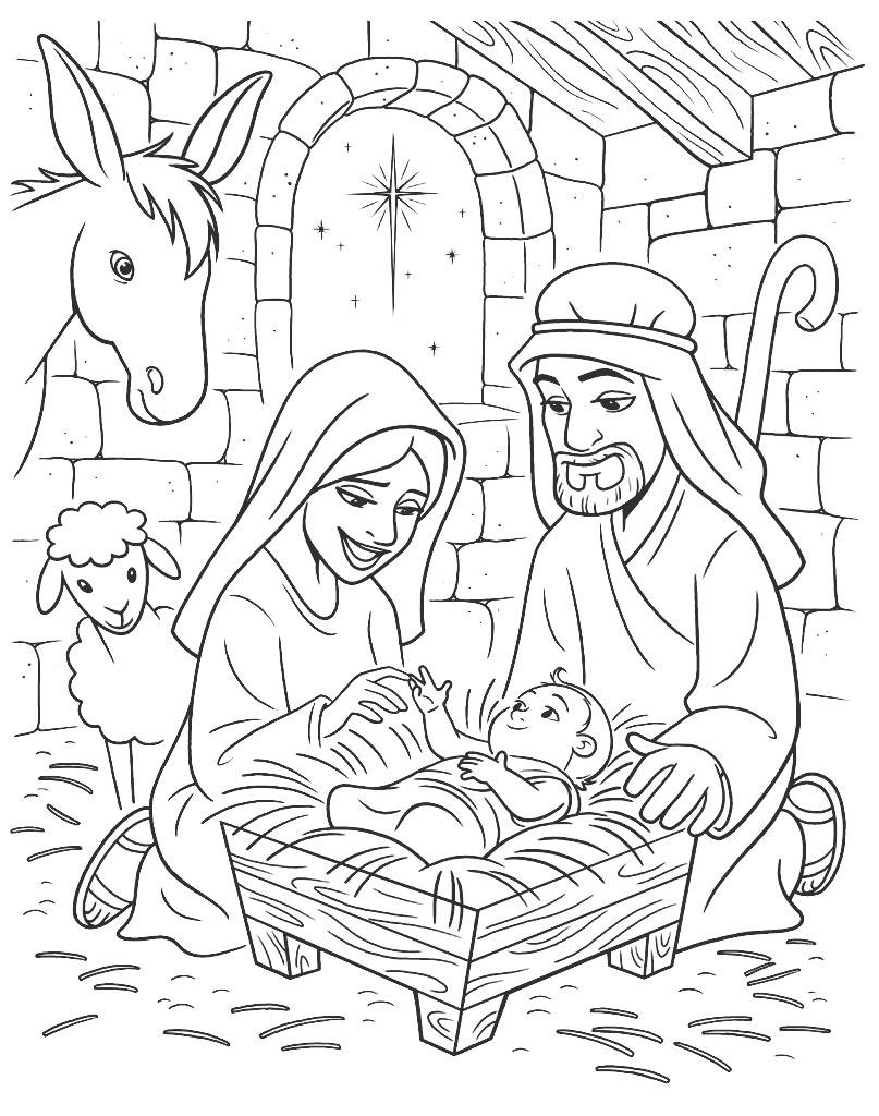 Narodziny Jezusa Chrystusa kolorowanka