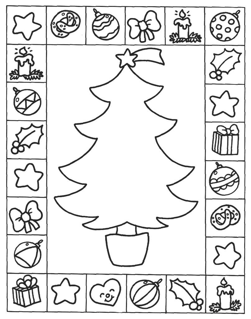Ozdoby świąteczne na choinkę kolorowanka