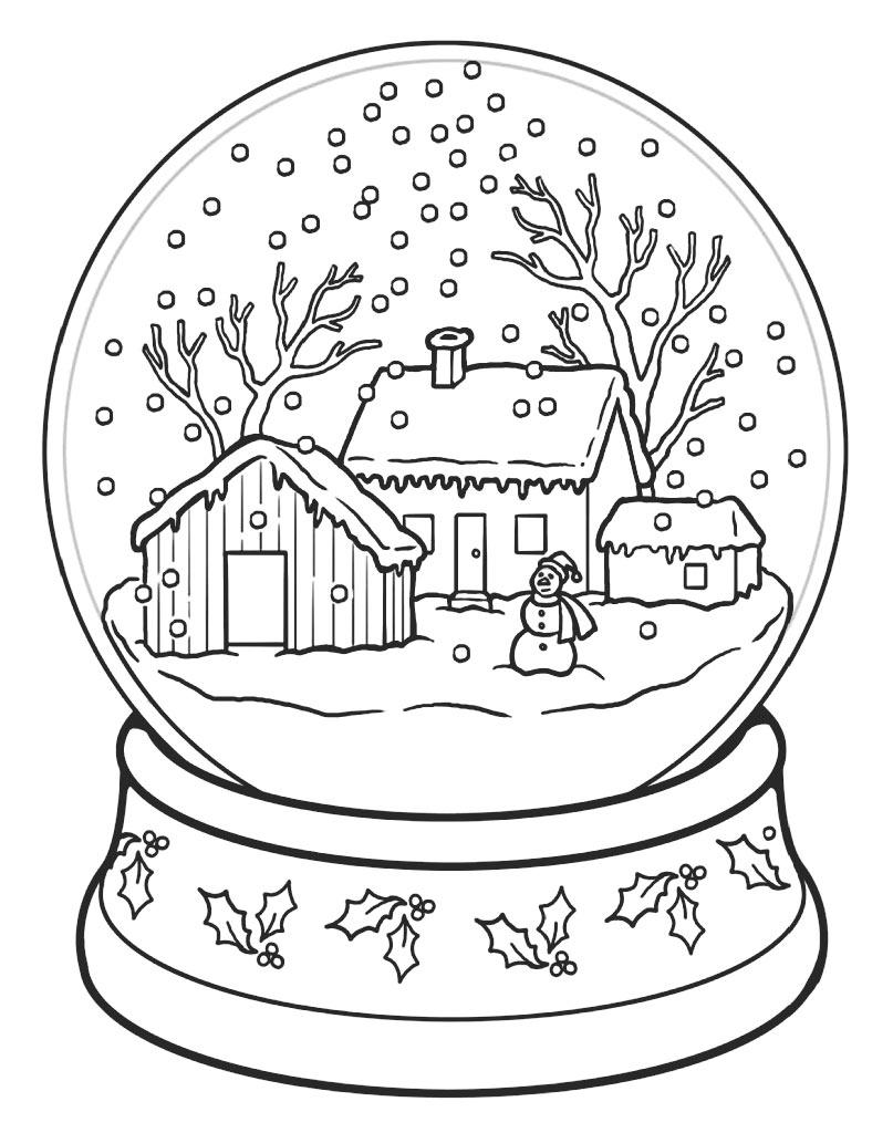 Świąteczna kolorowanka śnieżna kula na Boże Narodzenie