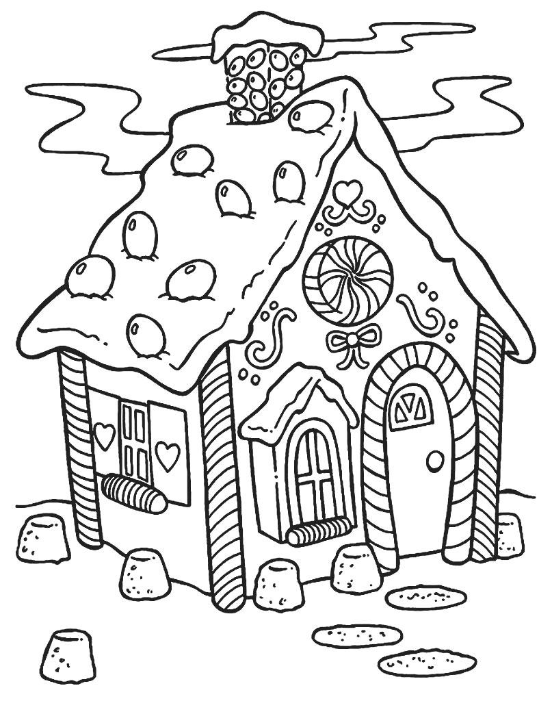Domek świąteczny z piernika kolorowanka do druku
