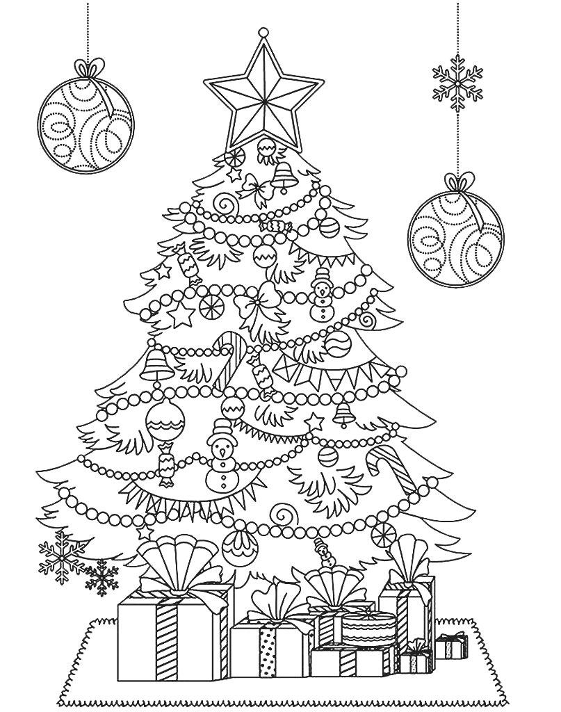 Drzewko świąteczne kolorowanka do druku