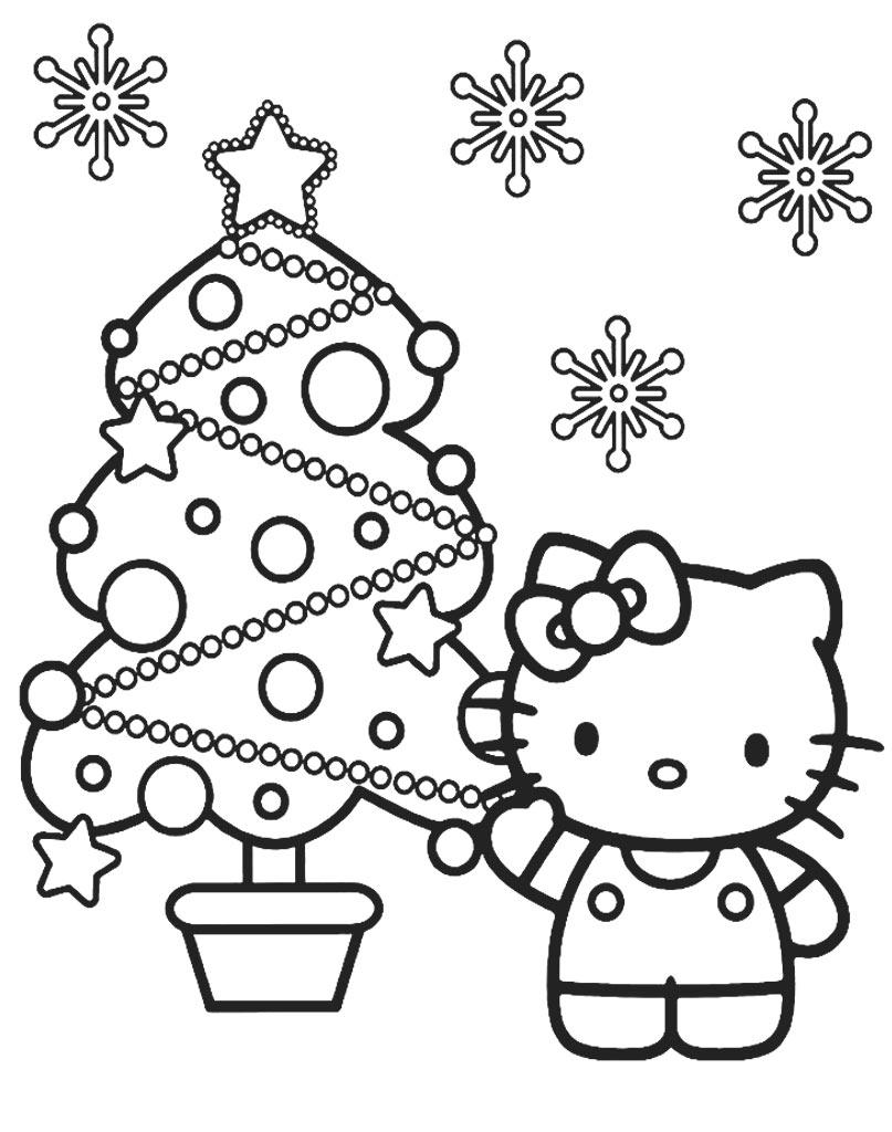 Hello Kitty kolorowanka świąteczna dla dzieci