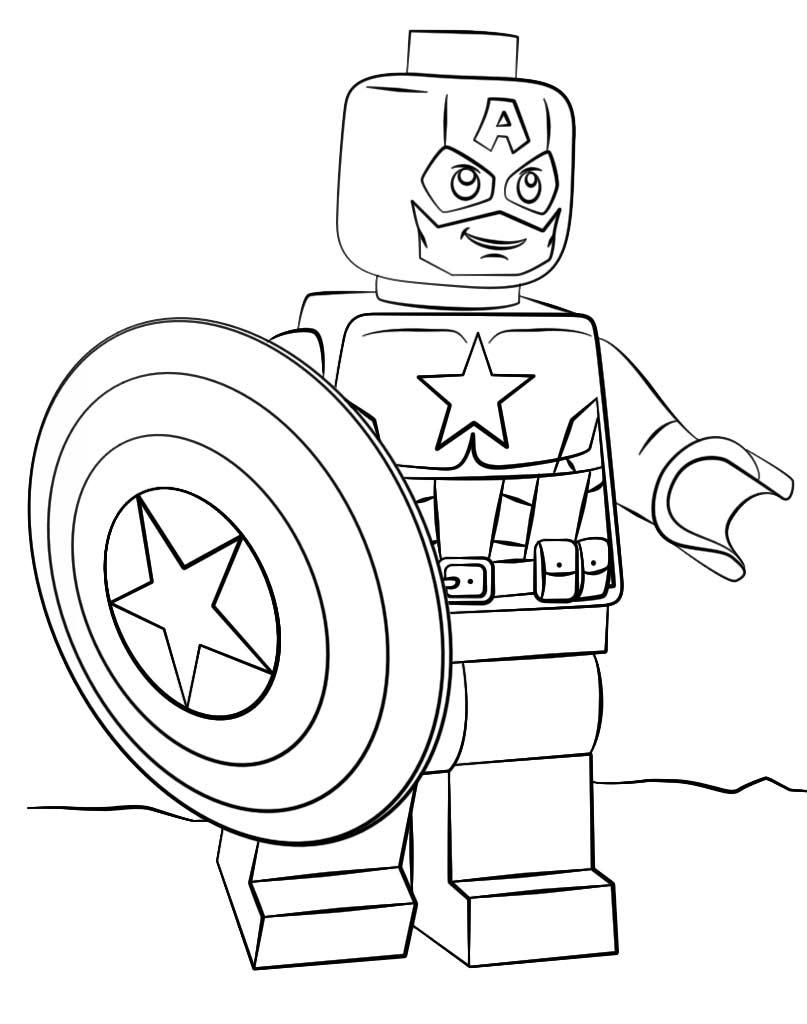Kolorowanka Lego Kapitan Ameryka