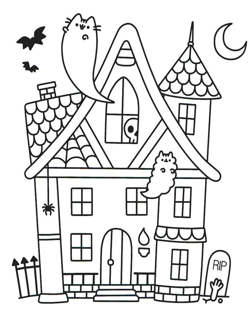 Kolorowanka Pusheen Halloween