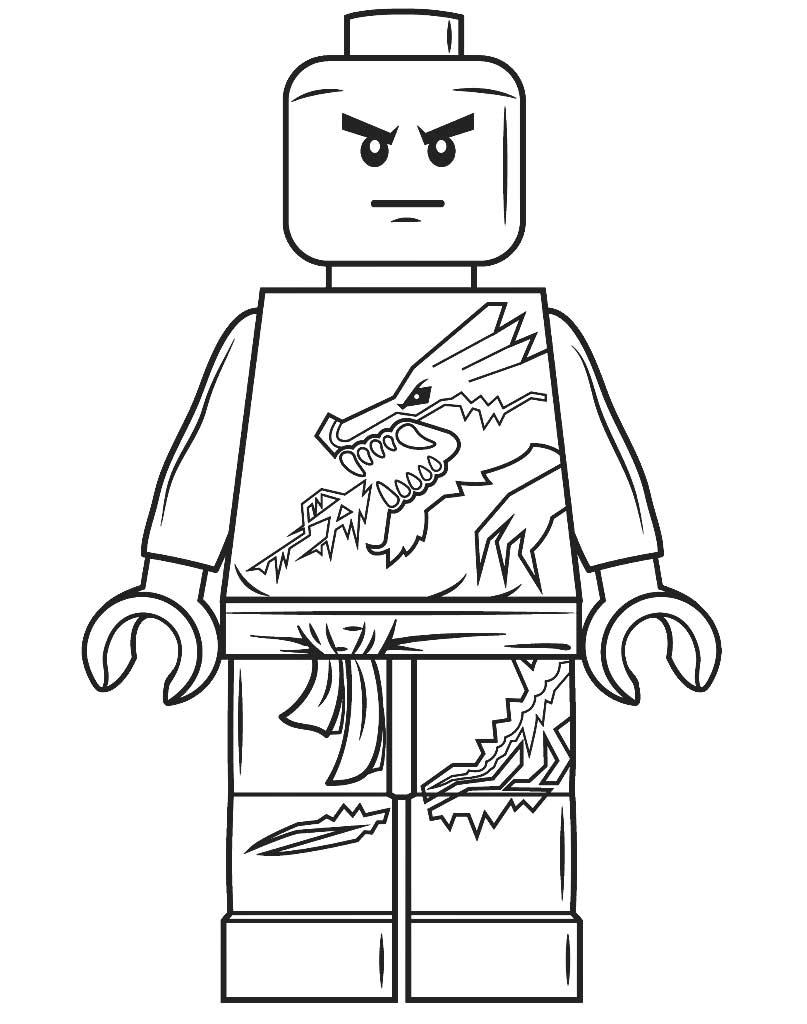 Kolorowanka do druku Lego Ninjago z figurką Zane