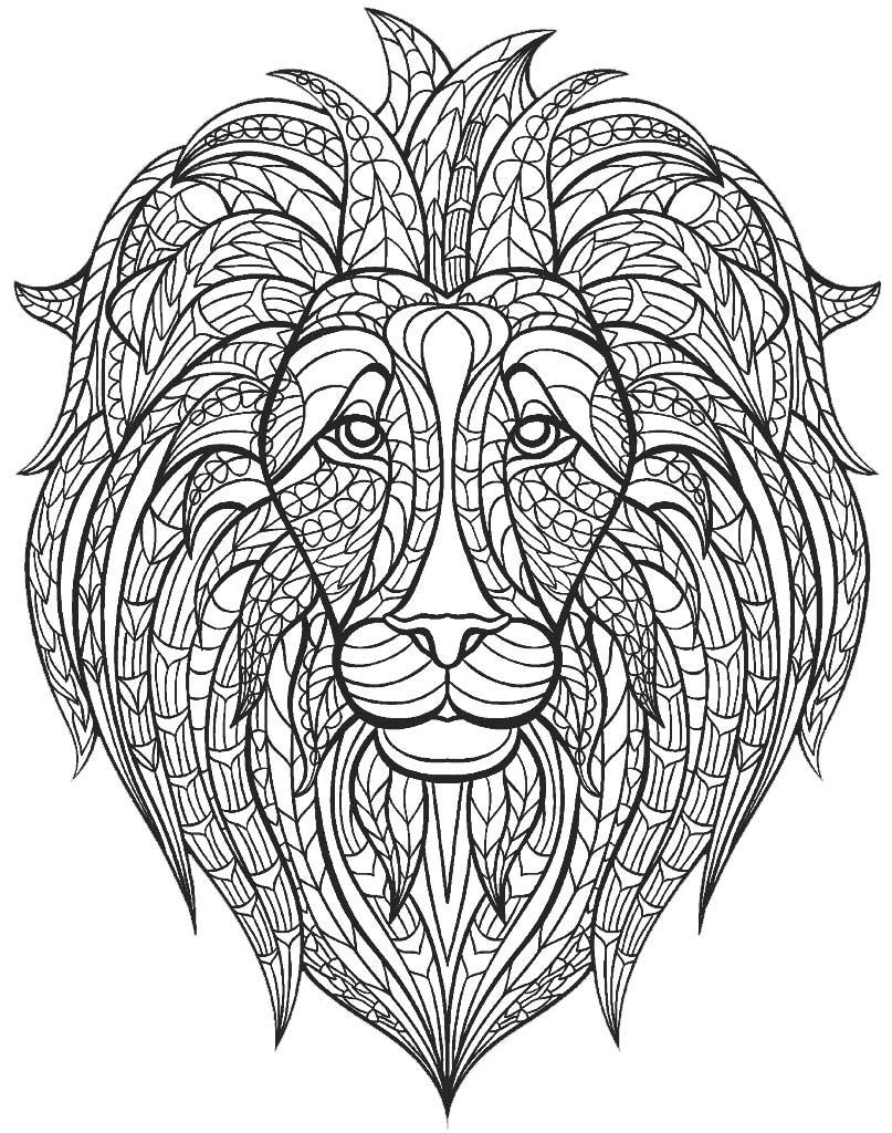 Mandala z głową lwa do druku