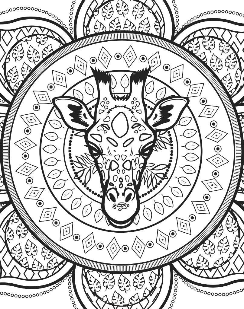 Mandala z głową żyrafy do wydruku