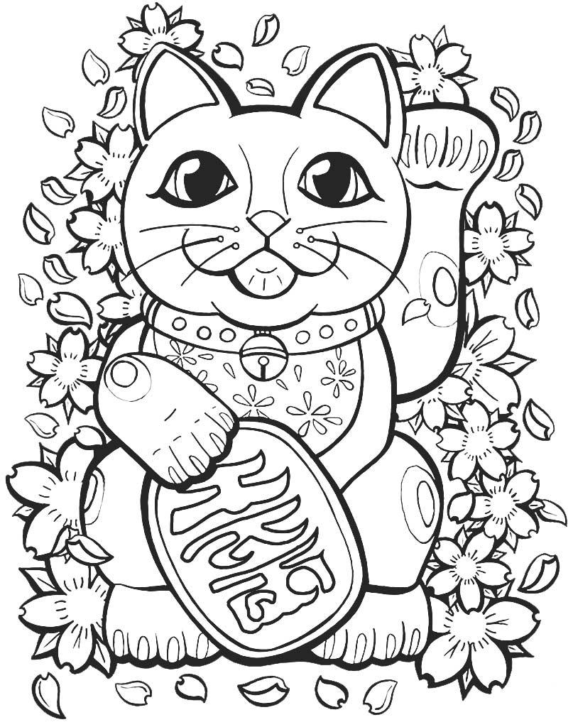 Mandala z japońskim kuszącym kotem Maneki Neko