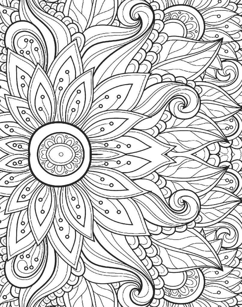 Piękna Mandala do kolorowania z kwiatami
