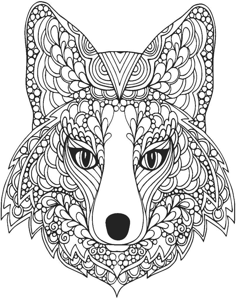 Piękna mandala z głową lisa do wydrukowania